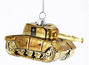 United States Army Tank Glass Christmas Ornament Military Patriotic Decoration