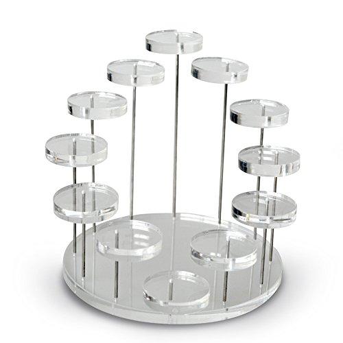 Proglam - Soporte organizador de joyas de acrilico transparente con 12 bandejas para anillos, pendientes, pulseras, collares, etc