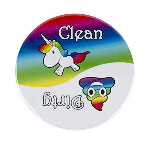 """Clean Dirty Dishwasher Magnet Sign, Round Emoji 3.5"""" Magnet Dishwasher Indicator Reminder Tells Whether Dishes Are Clean or Dirty - Red, 100% Handmade in the USA."""