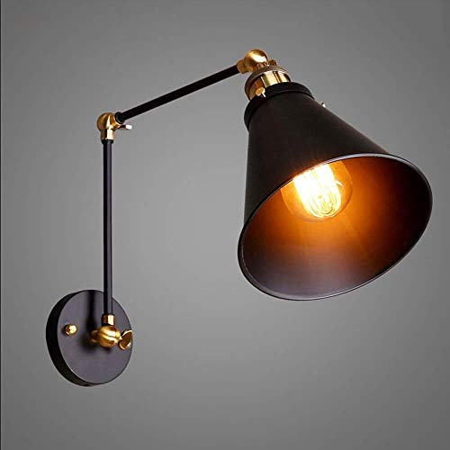 (Niannuan Wall Light Fixture Swing Arm Wall Lamp Industrial Retro Rustic Loft Antique Wall Lamp Edison Vintage Pipe Wall Sconce Decorative Fixtures Lighting Luminaire (Bulbs not Included) )