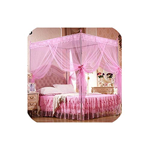sunshine-xj Princess Lace Canopy Mosquito Net Four Corner Post Bug Insect Repeller No Frame Full Queen King Size Bed Mosquito 180cm x 200cm,Pink,Queen