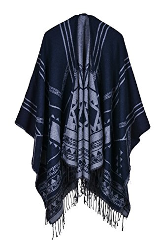 Hiwil Women Faux Cashmere Striped Cover up Blanket Ponchos Knit Kimono Cardigans Grey One Size