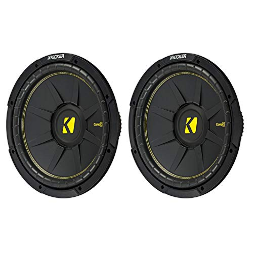 KICKER 12 Inch CompC 1200 Watt 4 Ohm Single Voice Coil SVC Subwoofer (2 Pack) ()