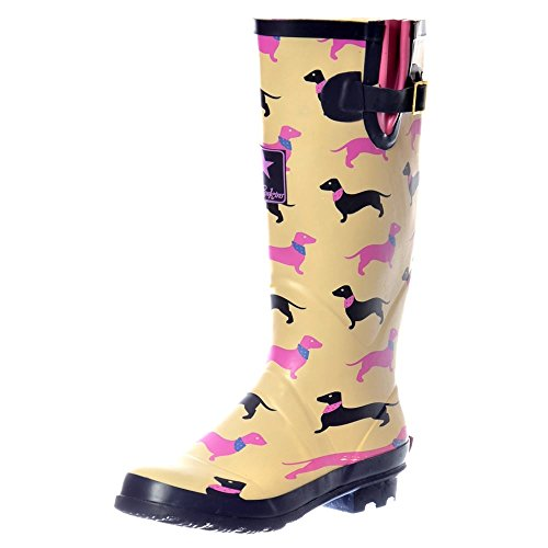 ADJUSTABLE BUCKLE FLAT WELLY RAIN BOOTS YELLOW DOGS SZ 6 (Girls Knee High Rain Boots compare prices)