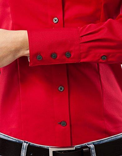 Donna rosso Collo lunga blusa Tinta non Aderente iron Boretti Inserti Classico Camicia 1 Manica fit Con Stiro modern Non Contrasto Abbastanza In Unita Elegante Vincenzo Taglio FqOtpWcOv