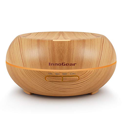 InnoGear Aromatherapy Essential Oil Diffuser Wood Grain Ultrasonic Cool Mist Diffusers with 7 Color LED Lights Waterless Auto Shut-Off, 200 mL