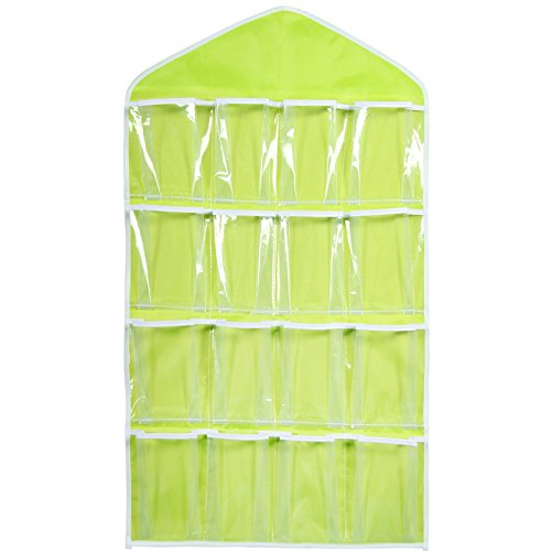 16 Pocket Over Door Hanging Bag Shoe Toy Hanger Storage Tidy Jewellery Organizer Colors:Green Ainest