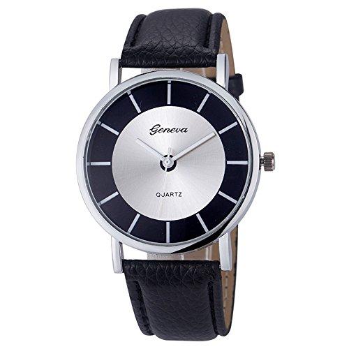 Geneva Black Leather Watch - 1
