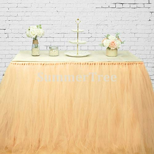 (Party DIY Decorations - 100 x 80cm Tulle Fabric Tutu Table Skirt Tableware Gauze For Wedding Birthday Party Decoration - (Color: Peach))
