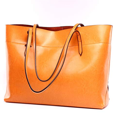 Orange Leather Handbag - 3