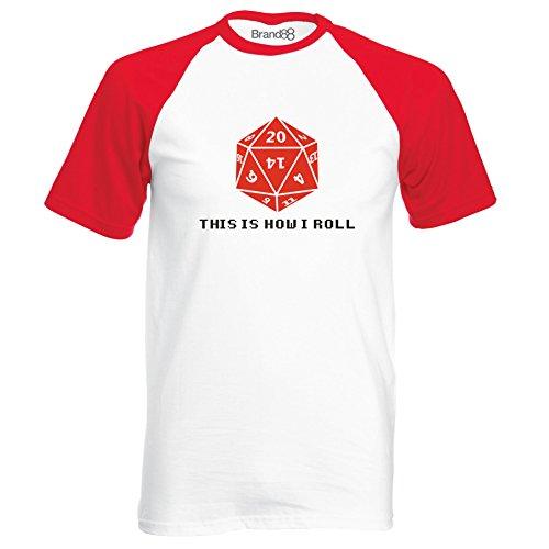 Brand88 - This Is How I Roll Camiseta De Manga Corta Para Niños Con Colores Contrastantes Blanco/Rojo/Negro