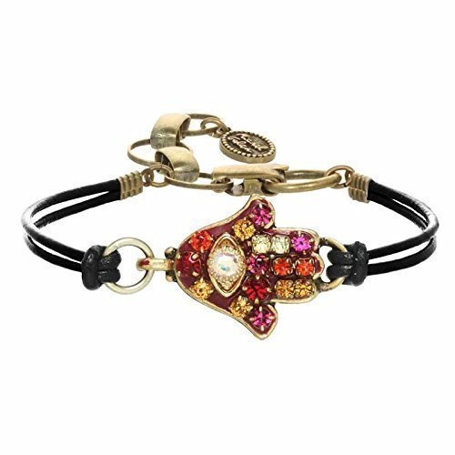 Autumnal Crystal Hamsa Bracelet. Warm toned Swarovski crystals adorn a gold plated pendant. Expertly handcrafted in NYC