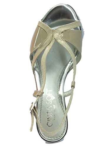 Cinzia Soft Per Tessuto In Beige Sandali Tacco Donna Grigio Con CHCfqSgw