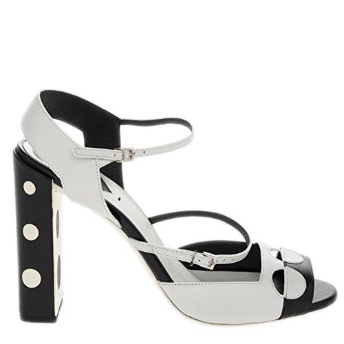 White Fendi Leather (Fendi Women's Polka Dot Strappy Sandals Leather White + Black EU 39 (US 9))
