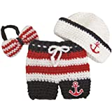 Pinbo® Newborn Baby Photography Prop Crochet Sailor Anchor Bow Hat Pants