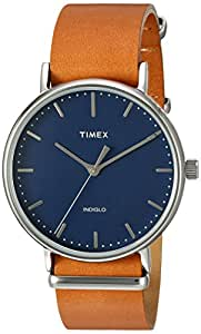 Timex 'Weekender' Quartz Brass and Leather Automatic Watch, Color:Brown (Model: TW2P978009J)