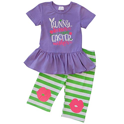 (So Sydney Girls & Toddler Easter Tunic Tank Top Ruffle Pants Boutique Outfit (4T (M), Knee Patch Bunny)