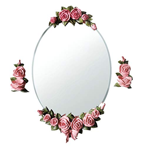 - Bathroom Mirrors Hanging On The Wall Mirror Resin Carved Dressing Table Mirror Living Room Wall Hanging Decorative Mirror Creative Oval Silver Mirror with Candlestick Wall-Mounted Vanity Mirrors