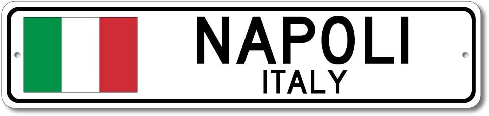 Napoli, Italy - Italian Flag Sign - Metal Novelty Sign for Home Decoration, Italian Restaurant Wall Decor, Gift Street Sign, Italian Hometown Sign, Made in USA - 4x18 inches