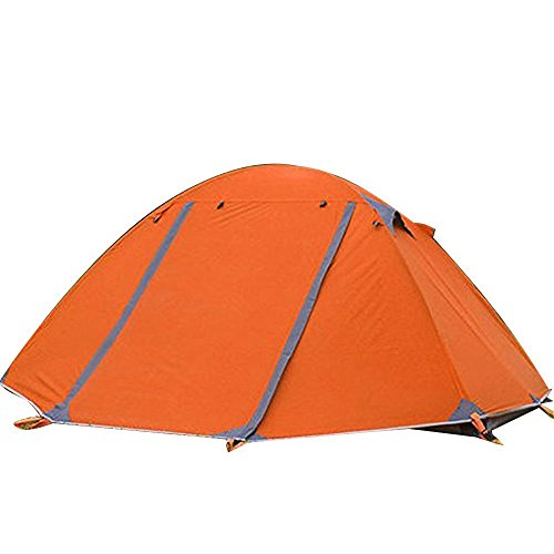 Flytop 3-4 Season 2-Person Double Layer Backpacking Tent Aluminum Rod Waterproof for Camping Expeditions Hiking Travel Climbing - Easy Set Up (Orange-3 Season)