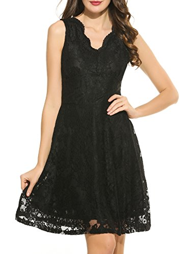 Cocktail Neck Floral Swing Women ACEVOG V Black Vintage Sleeveless Formal Deep s Lace Dress Rz44Pqc