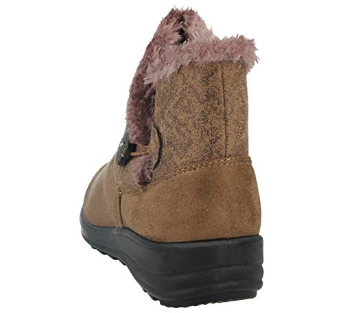 Lined Suede Casual Fur Cushion 3 Warm Ankle Ladies Faux Taupe Shoe Walk Button Boot Faux Size Comfort 8 10qtwS