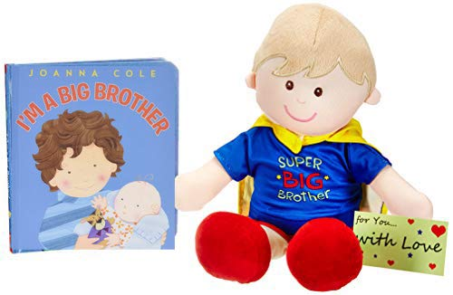 I Am a Big Brother Doll and Book Bundle - Super Big Brother Doll with Cape and Gift tag ()