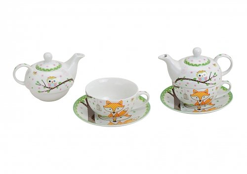 Tea for One Teapot ~ Fox and Owl ~ Set Teacup and Teapot with Cup Tea Set No Name