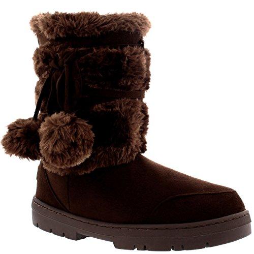 De Nieve Zapato Pom Piel Lluvia Marr Botas Mujer Pom Forrada Corta Invierno 1zpqXq