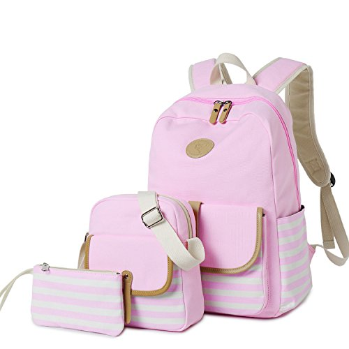 Girls Canvas Students Laptop Travel Backpack Casual School Bookbag for Teens (Pink-3pcs 93)