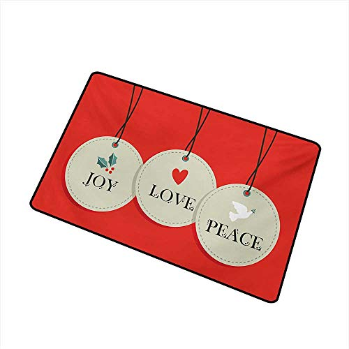 Becky W Carr Christmas Front Door mat Carpet Joy Love and Peace Words Pendants Merry Christmas Holiday Celebration Theme Machine Washable Door mat W29.5 x L39.4 Inch,Vermilion Cream ()