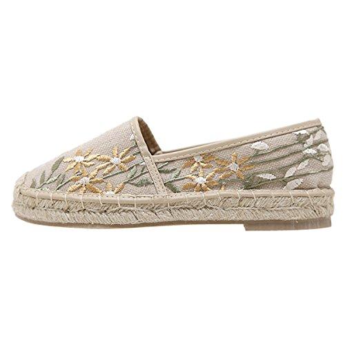 Dear Time Women Canvas Espadrille Embroidery Flat Platform Slip-On Loafer Apricot 6rAT4NJxD5