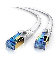CSL – 10 m CAT 8,1 nätverkskabel platt 40 Gbits – LAN-kabel patchkabel – CAT 8 Gigabit RJ45 Ethernet-kabel – 40 000 Mbit fiberoptisk hastighet – platt bandkabel – anslutningskabel – Cat 6 Cat 7 Cat 8
