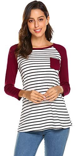 Newchoice Women's Striped Raglan Long Sleeve Baseball T Shirt Tunic Tops
