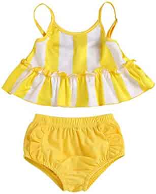 c9fd544a88c Clothful , Toddler Kids Girl Stripe Two-Piece Swimwear Swimsuit Bathing Suit  Clothes Set