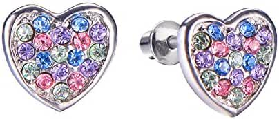 Girls Screwback Muticolor Earrings, Heart Cubic Zirconia, Multicolor Screw Back Earrings for Girls with Stainless Steel Post