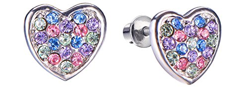 Screw Back Multicolored Heart Stud Earrings for Kids, Baby, Toddler, Little Girls with Surgical Steel Post for Ultra Sensitive Ears with Secure Safety Screwback]()