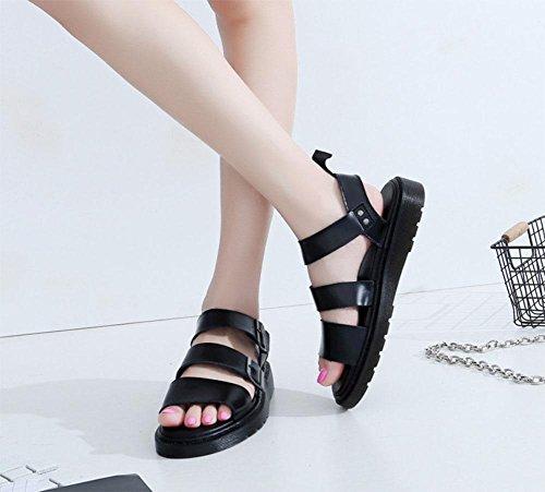 Romano Meili Plataforma Hebilla Martin Dedos Sandalias Negro Mujer Zapatos Playa Abierta qq4rAWT1