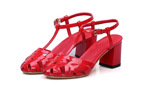 Aalardom Kvinners Patent Skinn Spenne Lukket Tå Kattunge Hæler Solide Sandaler Rød