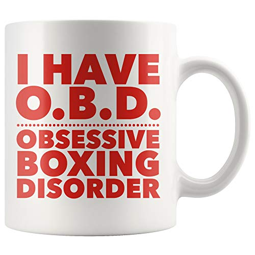 ArtsyMod I HAVE OBD OBSESSIVE BOXING DISORDER Premium Coffee Mug, Perfect Funny Gift For The Boxers, Coach, Men, Women! Durable White Ceramic Mug (Red Print, 11oz.)