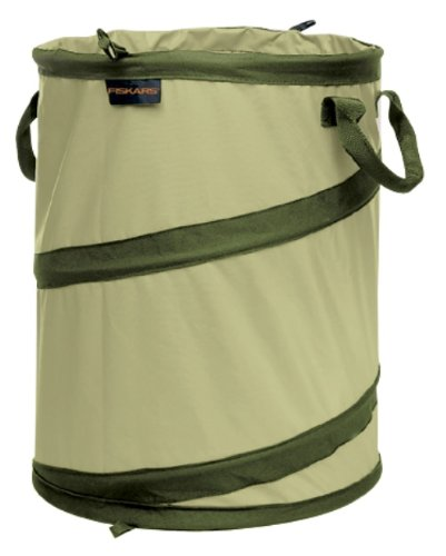 Fiskars 10 Gallon Kangaroo Gardening Bag, 10 Gallon Capacity, Green, - Pop Garden Bag Up