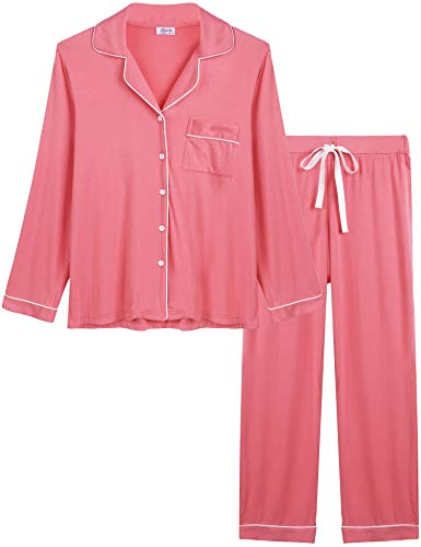 Joyaria Womens Soft Bamboo Pajama Sets Button Front Pjs Long Sleeve Pants Sleepwear Plus Size (Rose Red, XXL) (Long Pjs Pajamas Sleeve)