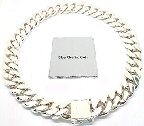 (joy-nin Huge 925 Sterling Silver 15 mm Cuban Link Curb Chain Necklace for Men with Silver Cleaning Cloth and Velvet Box (20))