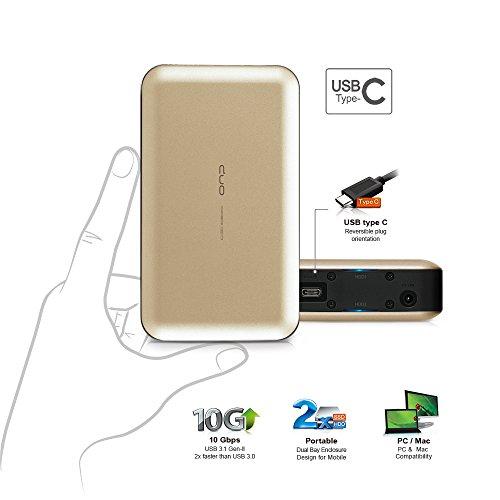 Mediasonic ProRaid USB-C 2 Bay 2.5 SATA SSD/Hard Drive Enclosure - USB 3.1 Gen-II 10Gbps Speed/USB Type C (HUR6-SU31C) (Gold)