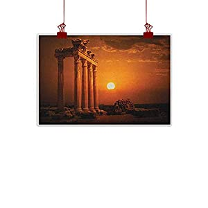 Canvas Prints Wall Decor Art Ancient,Antique Ancient Style Rome Empire Monuments Columns Statues with Sun Picture, Orange and White for Bedroom Office Homes Decorations 107