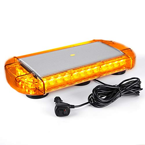 - VKGAT 17 Inch 32 LED Roof Top Strobe Lights, Emergency Hazard Warning Safety Flashing Strobe Light Bar for Truck Car Vehicle, With Strong Magnet Base (Amber)