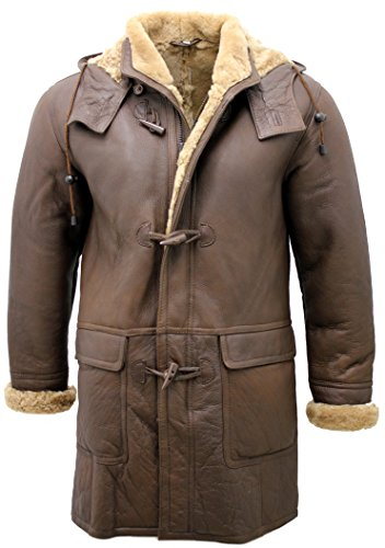 Infinity Men's Long Brown Leather Hooded Ginger Sheepskin Duffle Coat (XL)