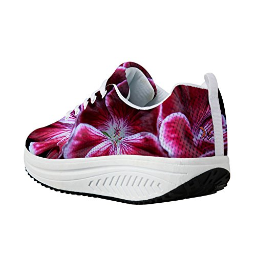 For U Design Vintage Floral Print Fitness Walking Sneaker Uformell Kvinners Kiler Platåsko Blomster-4