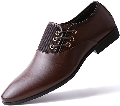 Marino Oxford Dress Shoes for Men - Formal Leather Mens Shoes - Brown - Side Lace - 8 D(M) US