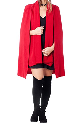 Fully Lined Petite Coat (Dazly Women's Open Front Pocket Cloak Trench Coat Cape Tailored Blazer Red M)